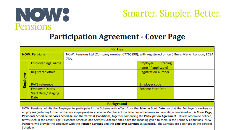 Cover page of NOW: Pensions Participation Agreement