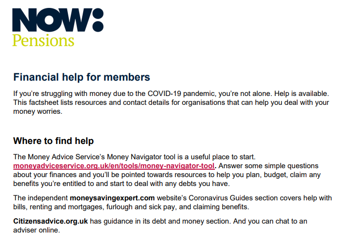 NOW: Pensions financial help for members factsheet